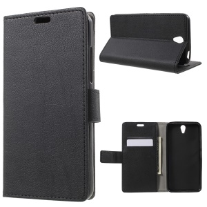 Litchi Leather Wallet Protective Case for Lenovo Vibe S1 - Black
