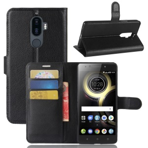 Litchi Texture PU Leather Wallet Stand Phone Case for Lenovo K8 Note - Black