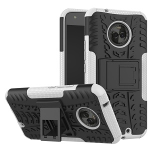 2-in-1 Tyre Pattern Kickstand PC + TPU Combo Phone Cover for Motorola Moto X4 - White