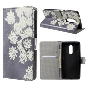 Printing Pattern Wallet Leather Case with Stand for Lenovo K8 - White Flower