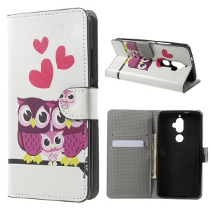 Patterned Wallet Leather Flip Stand Cover for Lenovo K8 Plus - Owls Family