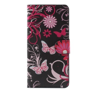 Patterned Wallet Leather Flip Mobile Cover for Lenovo K8 Plus - Floral Butterflies