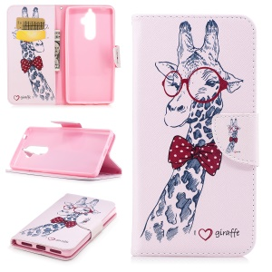 Pattern Printing PU Leather Wallet Stand Phone Case for Lenovo K8 Note - Giraffe Wearing Glasses