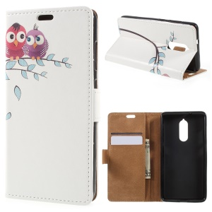 Patterned Leather Wallet Stand Cover for Lenovo K8 - Two Owls on the Tree Branch