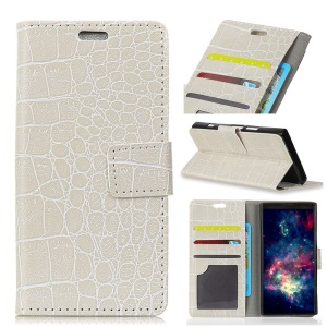 Crocodile Texture PU Leather Magnetic Stand Wallet Phone Cover for Motorola Moto X4 - White