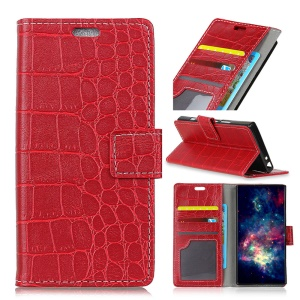 Crocodile Texture PU Leather Magnetic Stand Wallet Phone Shell for Motorola Moto X4 - Red