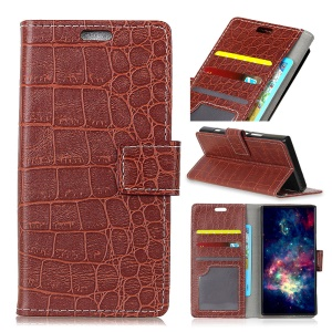 Crocodile Texture PU Leather Magnetic Stand Wallet Phone Case for Motorola Moto X4 - Brown