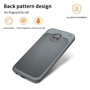 IVSO Gentry Series PU Leather Coated TPU Back Cover for Motorola Moto X4 / Moto X (4th gen.) - Grey