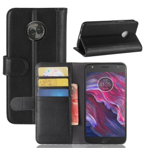 Genuine Split Leather Wallet Stand Case for Motorola Moto X4 - Black