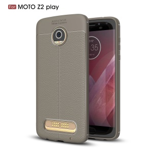 For Motorola Moto Z2 Play Litchi Grain Featherweight Soft TPU Phone Back Phone Cover - Grey