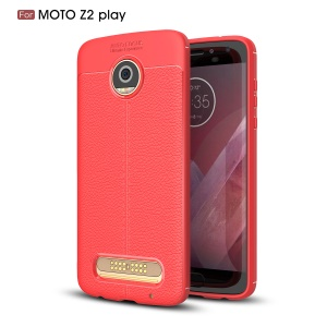 For Motorola Moto Z2 Play Litchi Grain Featherweight Soft TPU Phone Back Accessory Phone Case - Red