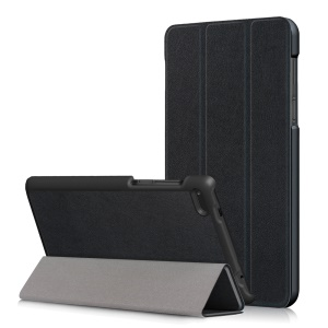 PU Leather Tri-fold Stand Case for Lenovo Tab 7 Essential (TB-7304F/I/X) - Black