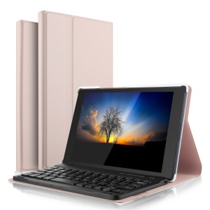 Thin & Light Bluetooth Wireless Keyboard + Leather Stand Cover Case for Lenovo Lenovo Tab 4 8 - Rose Gold Color