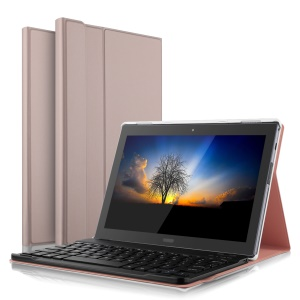 Ultra-thin PU Leather Bluetooth Keyboard Tablet Case with Stand for Lenovo Tab 4 10 Plus - Rose Gold Color