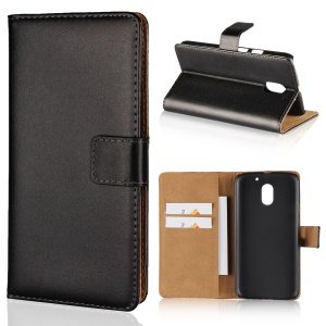 For Motorola Moto E3 Genuine Split Leather Wallet Case with Stand - Black