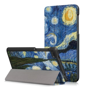 Pattern Printing Leather Tri-fold Stand Tablet Shell for Lenovo Tab 7 Essential (TB-7304F/X) -  Starry Night Oil Painting