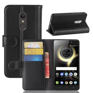 Genuine Leather Wallet Stand Cell Phone Case for Lenovo K8 - Black