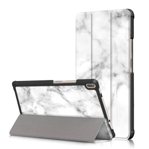 Pattern Printing Tri-fold Stand Leather Case for Lenovo TB-8804F / Tab 4 8 Plus TB-8704V - Marble Texture