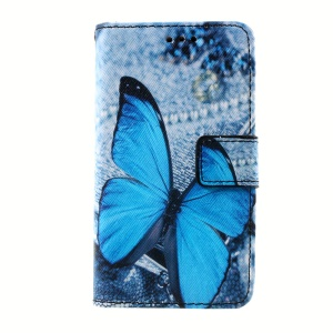 Callfree Leather Wallet Case for Lenovo A319 with Stand - Blue Butterfly