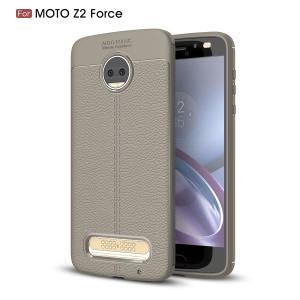 Litchi Skin Leather Coated TPU Back Cover for Motorola Moto Z2 Force - Grey