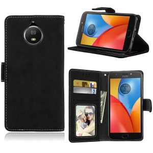 Matte Surface PU Leather Wallet Stand Case for Motorola Moto G6 Plus - Black