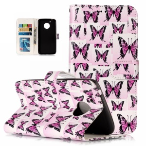 Pattern Printing Embossed Leather Wallet Cover for Motorola Moto G5 - Butterfly Pattern