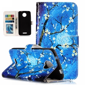 Pattern Printing Embossed Wallet Leather Cover with Stand for Motorola Moto C - Tree with Flowers