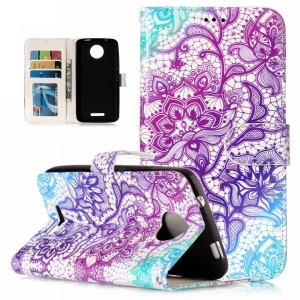 Pattern Printing Embossed Wallet Leather Cover Case for Motorola Moto C - Colorized Flower