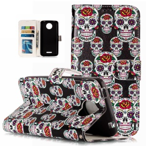 Pattern Printing Embossed Leather Protective Phone Case for Motorola Moto C Plus - Skulls