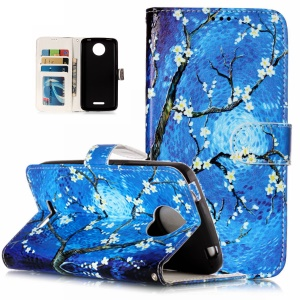 Pattern Printing Embossed Leather Protective Case for Motorola Moto C Plus - Wintersweet