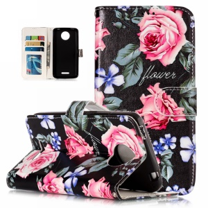 Pattern Printing Embossed Leather Protective Cover for Motorola Moto C Plus - Rose