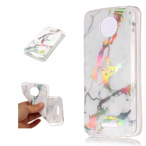 Marble Pattern Colorized Electroplated TPU Back Shell for Motorola Moto C - White