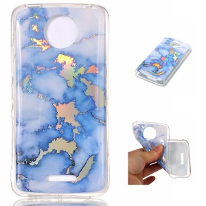 For Motorola Moto C Plus Marble Pattern Colorized Plated TPU Mobile Phone Case - Blue