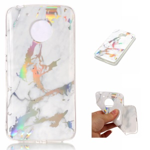 Marble Pattern Plated TPU Cover Shell for Motorola Moto G5 - White