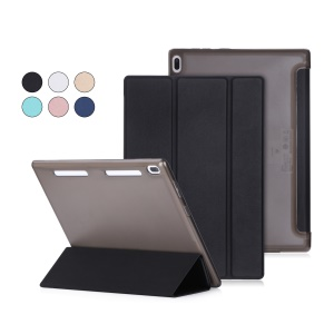 PU Leather Tri-fold Stand Tablet Case for Lenovo Tab 4 10 (TB-X304F/N) - Black