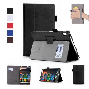 Folio Leather Stand Case with Card Slots for Lenovo Tab 4 8 Plus - Black