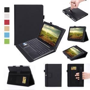 Leather Stand Card Holder Case for Lenovo Ideapad Miix 310 with Elastic Band and Hand Strap - Black