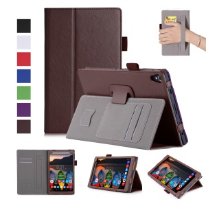 Leather Stand Card Slots Tablet Shell for Lenovo Tab3 8 Plus with Hand Strap - Brown