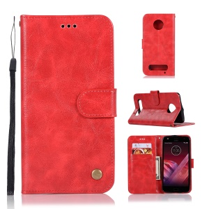 Premium Vintage PU Leather Wallet Stand Cover for Motorola Moto Z2 Plus - Red