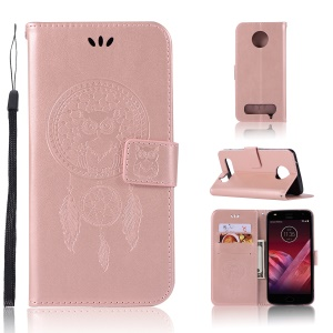 Imprint Dream Catcher Owl Magnetic Wallet PU Leather Stand Shell for Motorola Moto Z2 Play - Rose Gold