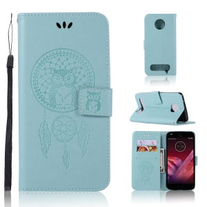 Imprint Dream Catcher Owl Magnetic Wallet PU Leather Stand Cell Phone Cover for Motorola Moto Z2 Play - Cyan
