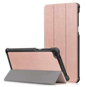 Tri-fold Stand Leather Protection Case for Lenovo Tab 7 Essential / Tab4 7 Essential (TB-7304F) - Rose Gold