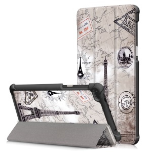 Pattern Printing PU Leather Tri-fold Stand Cover Shell for Lenovo Tab 7 Essential/Tab4 7 Essential(TB-7304F) - Eiffel Tower and Map