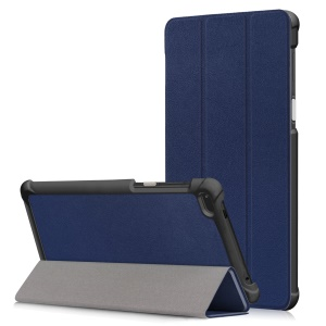 Pure Color Tri-fold Stand Leather Tablet Shell for Lenovo Tab 7/Tab4 7(TB-7504F/TB-7504N/TB-7504X) - Dark Blue