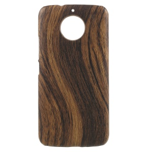 Leather Coated PC Phone Accessory Cover for Motorola Moto G5S Plus - Wood Texture