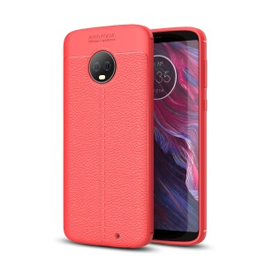 Litchi Texture TPU Case Shell for Motorola Moto G6 Plus - Red
