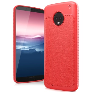 IVSO Gentry Series Litchi Grain Leather Coated TPU Mobile Case for Motorola Moto G6 - Red