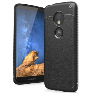 IVSO Gentry Series Litchi Texture Leather Coated Soft TPU Phone Case for Motorola Moto E5 - Black