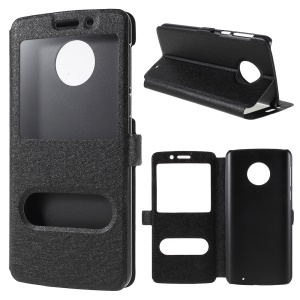 Silk Texture Dual View Window Leather Stand Cover for Motorola Moto G6 Plus - Black