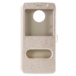 Silk Texture Dual Window Stand Leather Phone Case for Motorola Moto G6 - Gold